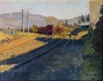 Behind Oak St Tank and Steel, Plein Air Oil Painting by Sarah F Burns
