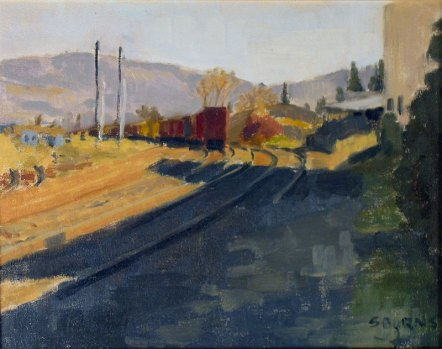 Behind Oak St Tank and Steel, Plein Air Oil Painting by Sarah F Burns