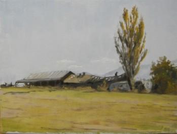 Southern Oregon Farm, Plein Air Oil Painting by Sarah F Burns
