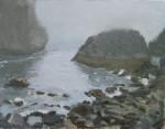 Gray Day at Harris Beach, Brookings, Oregon, Plein Air Oil Painting by Sarah F Burns