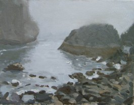 Gray Day at Harris Beach, Brookings, Oregon, Plein Air Oil Painting by Sarah F Burns