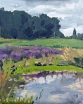 Sauvie Island Farm, Plein Air Oil Painting by Sarah F Burns