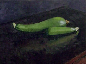 "Zucchini Oil Painting by Sarah F Burns 12"" x 16"" $380"
