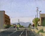 new parking garage in medford, Oregon, Plein Air Oil Painting by Sarah F Burns