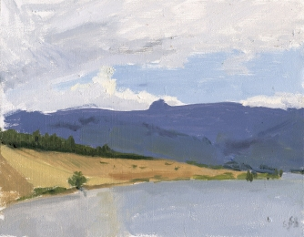 pilot rock and emigrant lake, plein air oil painting by Sarah F Burns