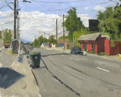 Roscoe's, Plein Air Oil Painting by Sarah F Burns