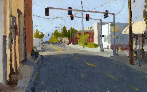 Oil Painting of Medford, Oregon Street, by Sarah F Burns
