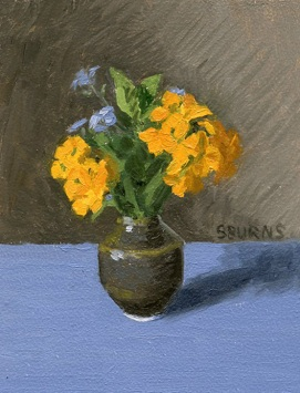 Little Orange Flowers and Forget Me Nots, Oil Painting by Sarah F Burns