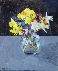 Spring Bouquet of daffodils, manzanita flowers oil painting by Sarah F Burns