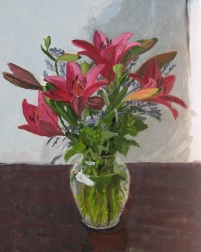 Pink Asiatic Lilies in Vase, Oil Painting by Sarah F Burns