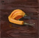bending gourd Fresh Produce Pinup Oil Painting by Sarah F Burns