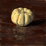 Short Cute Squash Fresh Produce Pinup Oil Painting by Sarah F Burns