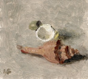 """""""Two Shells and Rock"""" Oil Painting by Sarah F Burns 5"""" x 5"""" SOLD"""