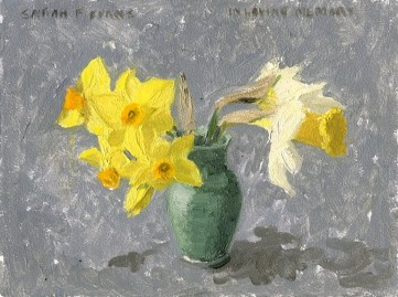 in loving memory, Daffodils for Loved Ones, Oil painting by Sarah F Burns