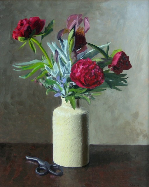June, Peonies and Irises Oil paintings by Sarah F Burns