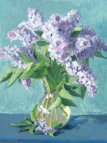 lilacs oil painting by Sarah F Burns