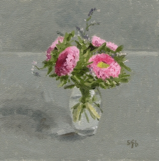 pink flowers on grey oil painting by Sarah F Burns