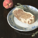 "Pork Chop and Peach Oil painting for smithfields ashland by sarah f burns 12"" x 12"""