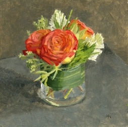 Flame Roses and Hyacinth, Oil Painting by Sarah F Burns