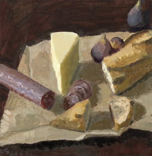 "Salami, Fig, Cheese and Bread, Oil on Panel by Sarah F Burns, 12"" x 12"" SOLD"