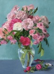 """Myra's Pink Roses, Oil painting by Sarah F Burns 12"""" x 16"""" sold"""