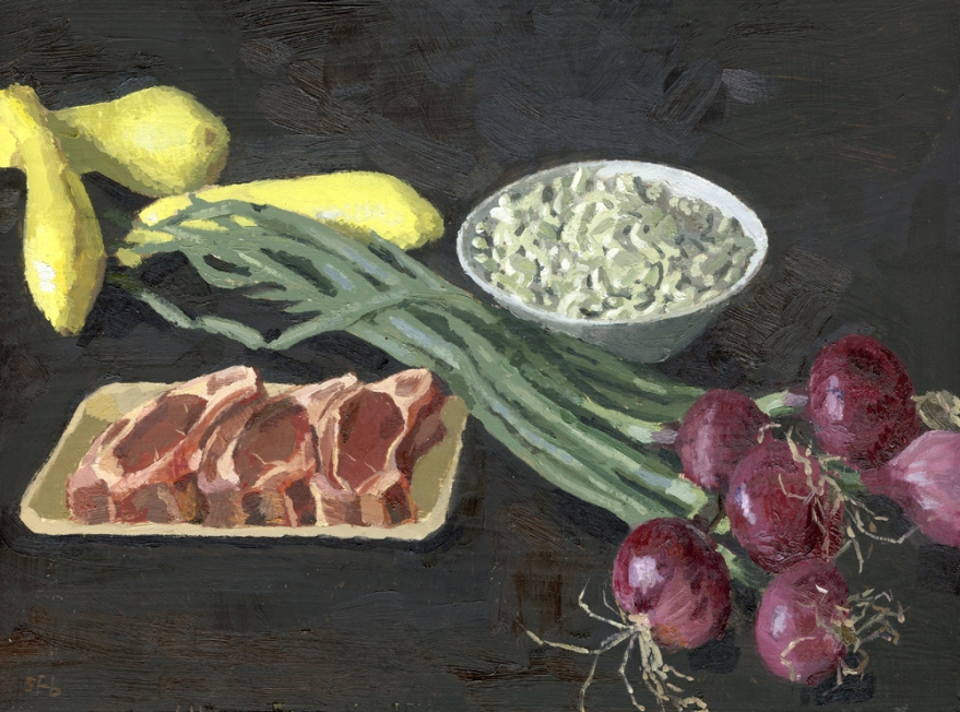 Smithfields Lamb Chops oil painting by Sarah F Burns