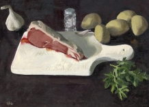 Ribeye Steak for Smithfields Oil Painting by Sarah F Burns