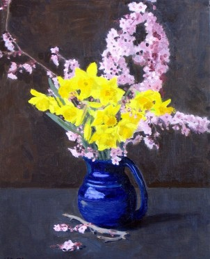 Sarah F Burns Spring Blossoms Oil Painting of daffodills and plum blossoms