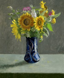 Sunflowers in Pottery Vase Oil Painting by Sarah F Burns