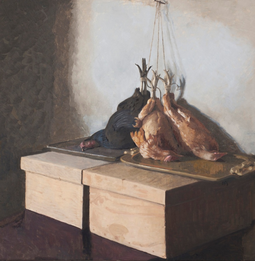 Smithfields Poultry Oil Painting by Sarah F Burns