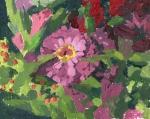zinnia oil painting by Sarah F Burns