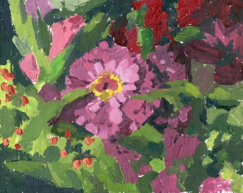 zinnia oil painting by Sarah F Burns