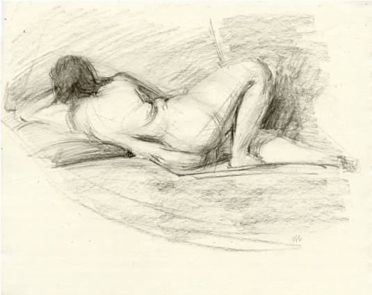 Lady from Behind Female Figure Sketch by Sarah F Burns