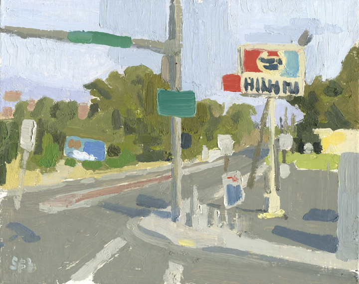 Oil Painting of Highway 99 in Talent, Oregon by Sarah F Burns