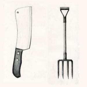 Knife and Fork for Neil Clooney Graphite Drawing by Sarah F Burns
