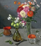 "Fall and Winter Flowers Oil on Panel 18"" x 20"" $750 Sarah F Burns"