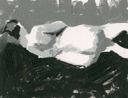 """Leah Back"" acrylic sketch by Sarah F Burns 6"" x 8"""