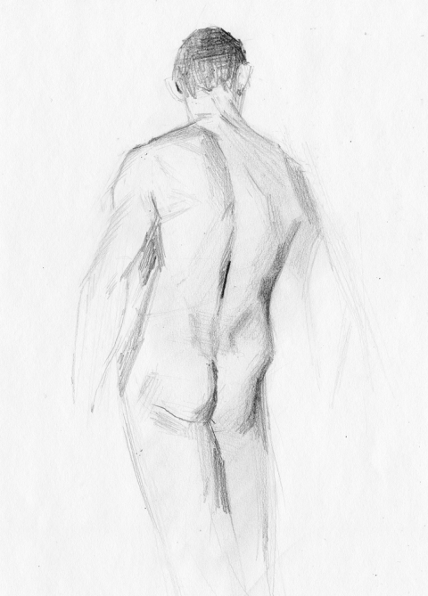 Drew Back Sketch Nude Male Drawing