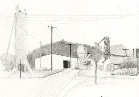 "White City Sketch Graphite on Paper 7"" x 11"" $60"