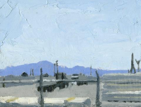 "White City Work Yard Oil on Panel 8"" x 10"""