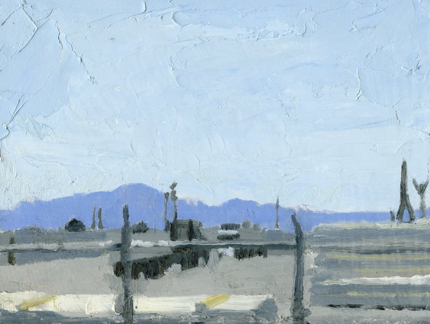 "White City Work Yard Oil on Panel 8"" x 10"""