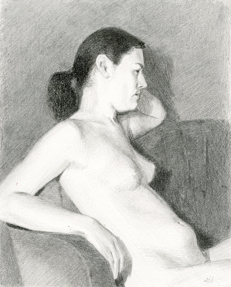 Beth, graphite drawing by Sarah F Burns