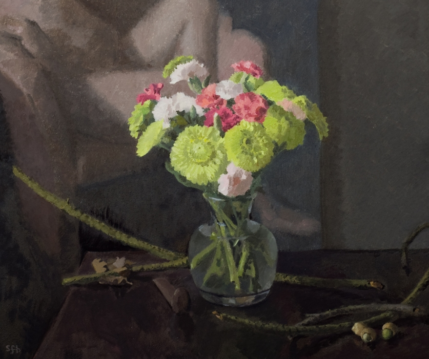Carnations and Green Acorns, oil painting by Sarah F Burns