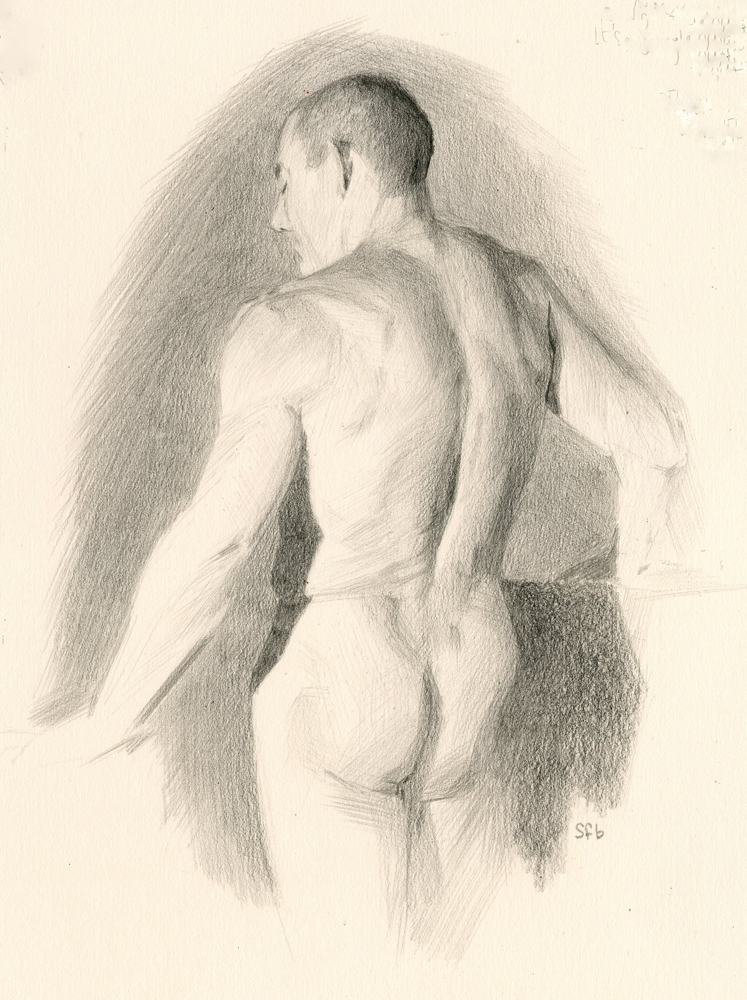 Drew's Back Graphite Drawing by Sarah F Burns