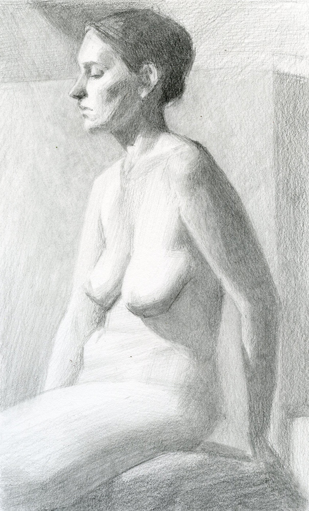 Woman From Eugene Graphite on Paper by Sarah F Burns