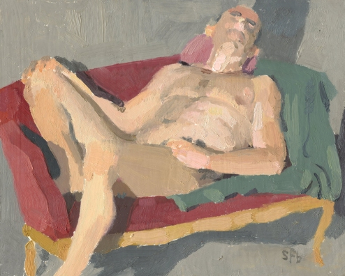 Drew on the Red Couch Painting by Sarah F Burns