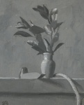 Grayscale Leaves in Vase