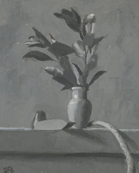 Grayscale Leaves in Vase