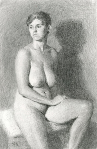 Shayln Seated graphite figure drawing by Sarah F Burns