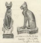 Sketch After Egyptian Cats in the Louvre